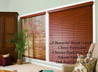 """2"""" FAUXWOOD BLINDS 60"""" WIDE x 24"""" to 36"""" LENGTHS - 4 GREAT WOOD COLORS!"""