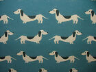 """Blue """"HOT DOG DACHSHUND"""" Fabric Multi Curtain Blinds Quilting Craft Patchwork"""