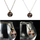 Women Men Bookcase Glass Cabochon Dome Fashion Necklace Pendant Jewelry 48cm