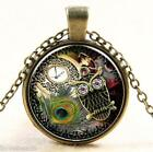 Steampunk Retro Glass Round Jewelry Owl Glass Cabochon Dome Pendant Necklace