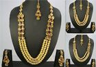 3-Line Gold Plated Indian Ethnic Pearl Kundan Fashion Jewelry Necklace Earring