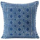"24"" Indigo Blue Decorative Overdyed Printed Dhurrie Cushion Floor Pillow Throw C"