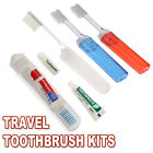 Travel Toothbrush Sets - Folding Compact Overnight - Toothpaste Holiday Wash Bag