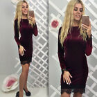 Woman Sexy Stylish Long Sleeve Slim Bodycon Stretch Gown Party Mini Pencil Drese