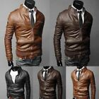 Fashion New Men's Jacket Collar Motorcycle Leather Coat Zip Cardigan Cool Coats