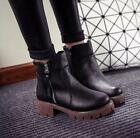 Hot Women's Retro Round toe Thick high-heeled shoes Fashion Ankle boots