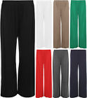 New Womens Plain Wide Leg Full Length Palazzo Trousers Ladies Stretch Pants 8-14