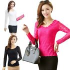 Women Lady Slim Lace Floral Long Sleeve T Shirt Blouse Top JR