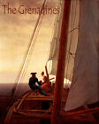 POSTER COUPLE SAILING THE GRENADINES SAILBOAT SUNSET SAIL VINTAGE REPRO FREE S/H