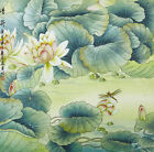 "18"" SILK BROCADE BIRD & FLOWER CHINESE PAINTING WATERCOLOR: VIRTUE OF LOTUS"