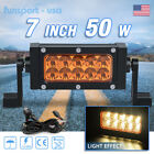 7in 50W Amber Spot LED Light Bar Offroad Truck SUV 4x4 Fog Driving Lamp+Wiring