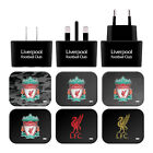 LIVERPOOL FC CREST LIVERBIRD BLACK UK CHARGER USB CABLE FOR APPLE iPHONE PHONES