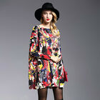 HX Women Fashion Oversized Graffiti Pullover Knitted Dress Sweater Loose Tops