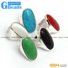 16x36mm Oval Stone Beads Tibetan Silver Base Ring Fashion Jewelry Free Shipping