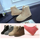 Womens Girls Snow Winter Casual Flat Faux Leather Fur Fashion Boots Shoes AU 4-9