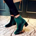 Womens Fashion Zip High Block Heel Velvet Ankle Boots Winter Formal Shoes Size 9