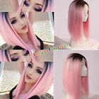 Heat Resistant Synthetic Lace Front Ombre Wigs Long Straight Bob Black&Pink Wigs
