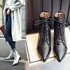 New Womens Heel High Top Ankle Pointed Toe faux Patent Leather Lace Up Mid Boots