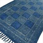 LARGE SELECTION - BLUE INDIGO COTTON PRINT ACCENT AREA DHURRIE RUG WOVEN WEAVE