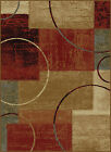 Multi-Color Contemporary Abstract Square Geometric Circles Modern Block Area Rug