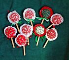 Vintage Lot of 9 Handcrafted Hanging  Lollipop Cristmas Decorations