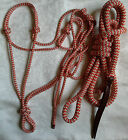 Red & Beige Zig Zag Halter with 12ft Lead with Loop by Natural Equipment