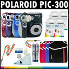Polaroid PIC-300 Instant Film Analog Camera w/ Film Packs, Pouch, Cleaner & More