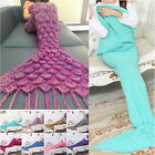 Mermaid Tail Sofa Blanket Soft Warm Hand Crocheted Knitting Wool For Adult Kids