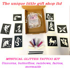 GLITTER TATTOO KIT MYSTICAL 10 stencils 4 glitters  glue applicator BOX