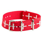 Red White Cross Classic Stainless Steel Nylon NATO Replacement Watch Strap Band
