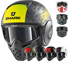 Shark Drak Tribute RM Open Face Motorcycle Helmet with Goggle & Mask Kit Jet Raw