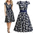 Women Vintage Evening Party Ball Gown Casual  Outdoor Wear Floral Print Dress