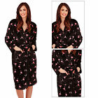 Loungeable Boutique Womens Soft Flamingo Print Long Robe Ladies Nightwear Set