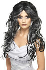 Smiffy's Womens Gothic Bride Long Black Silver Halloween Wig Costume Accessory