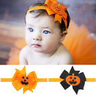 1X Cute Halloween Pumpkin Baby Toddler Stretchy Headband Hair Band Elastic Bow