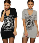 Womens Choker V Neck Dress Top Ladies Graphic Slogan Print Stretch Short Sleeve