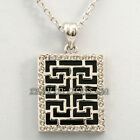 Fashion Rhinestone Geometric Pattern Tag Necklace Pendant 18KGP Crystal