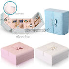 PU Leather Double Door Butterfly Jewelry Holder Earring Box Storage Organizer