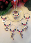 6 Super Bowl 51 Patriots/Falcons Wine Glass Charms. 50% Donated to Disabled Vets