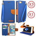 For iPhone Galaxy Note 8 LG Canvas Denim Jean Card Wallet Case Cover with Strap