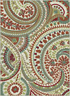 Ivory Transitional Paisley Area Rug Floral Leaves Multi-Color Casual Carpet