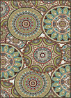 Multi-Color Contemporary Floral Rings Area Rug Geometric Circles Leaves Carpet