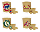 4 PC MLB TEAM LOGO BEIGE BATHROOM SET TRASH CAN TOOTHBRUSH HOLDER CUP SOAP DISH