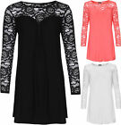 Womens Plus Round Neck Long Sleeve Plain Floral Lace Pleated Ladies Top 14-28