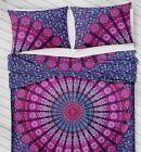 beautiful white peacock printed hippie bedding set and 2 pillow cases