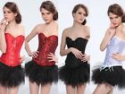 Sexy Plus Size Floral Overbust Corset Bustier Goth Intimates Tutu Skirt Lingerie