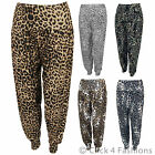 NEW LADIES WOMENS ANIMAL LEOPARD PRINT HAREM HAREEM ALI BABA TROUSERS PANTS 8-20