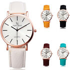 Men's Womens Rose Gold Case White Dial Fashion Leather Simple Wrist Watch Analog