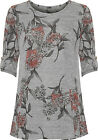 Plus Womens Knitted Swing Top Ladies Floral Print Short Sleeve Round Neck New
