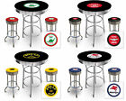 VINTAGE GAS GARAGE AUTO SHOP THEMED ROUND BAR TABLE & CHROME BAR STOOL SET